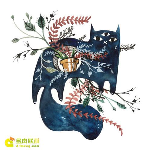 多肉植物与动物在一起系列水彩画之10