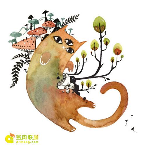 多肉植物与动物在一起系列水彩画之6