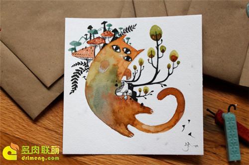 多肉植物与动物在一起系列水彩画之7