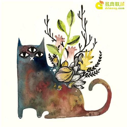 多肉植物与动物在一起系列水彩画之8