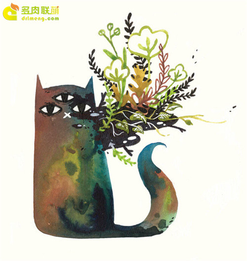 多肉植物与动物在一起系列水彩画之9
