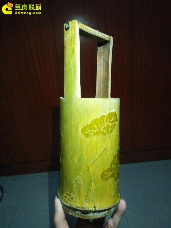 手工雕刻竹筒花盆制作教程-12