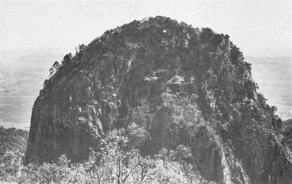 山顶全景,远处的山谷里很多龙舌兰