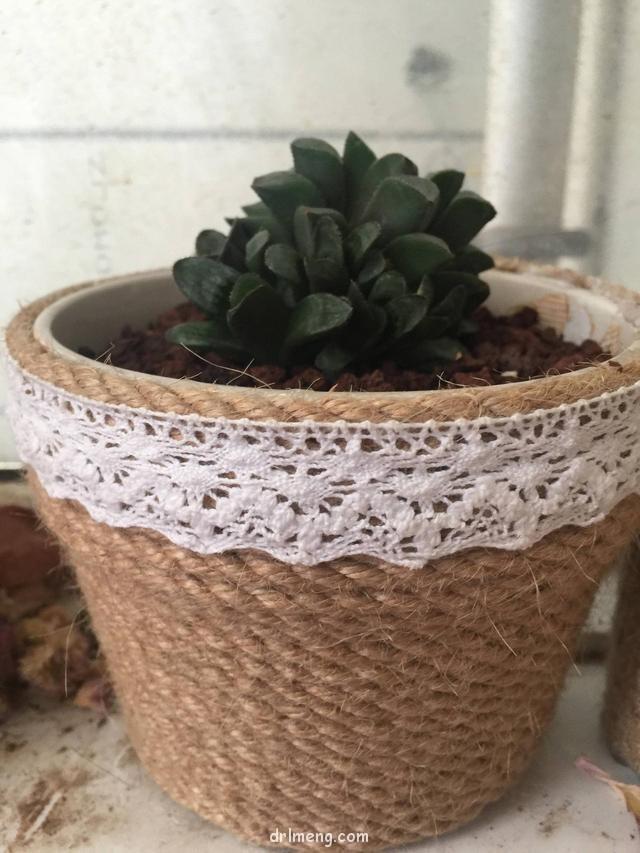 手工麻绳花盆