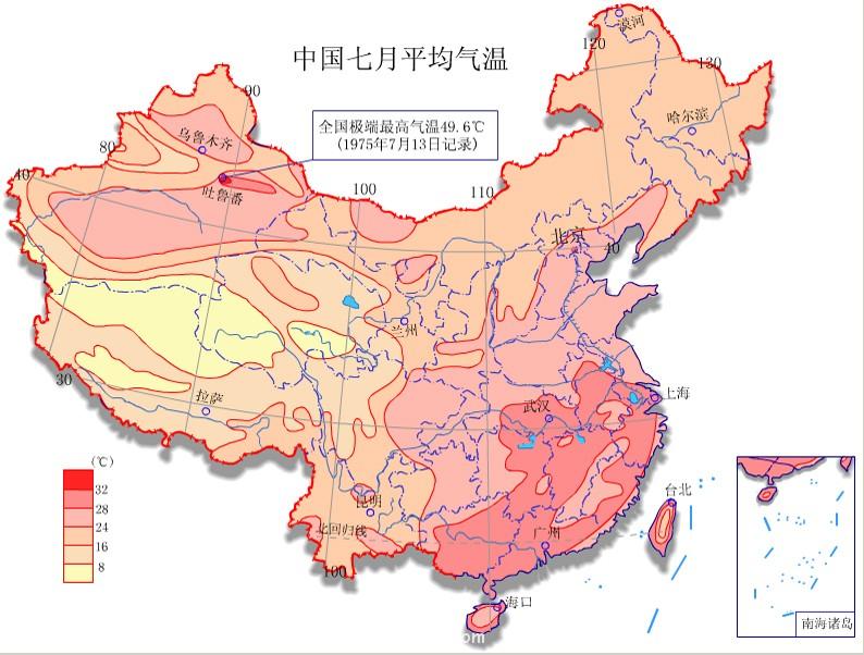 中国七月平均气温