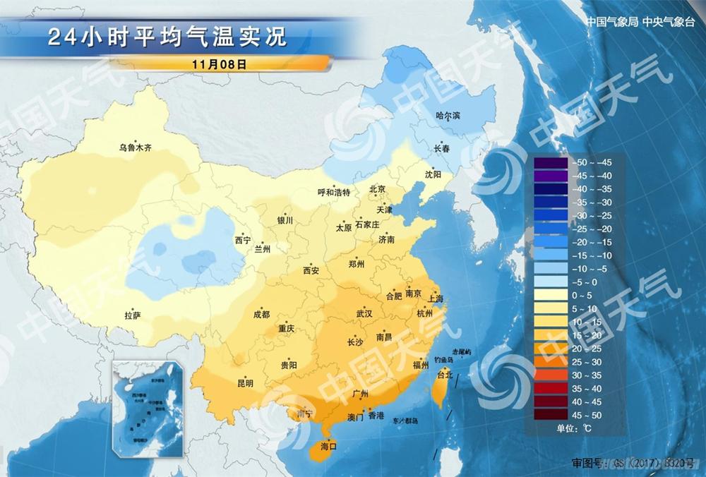 立冬 中国平均气温分布图