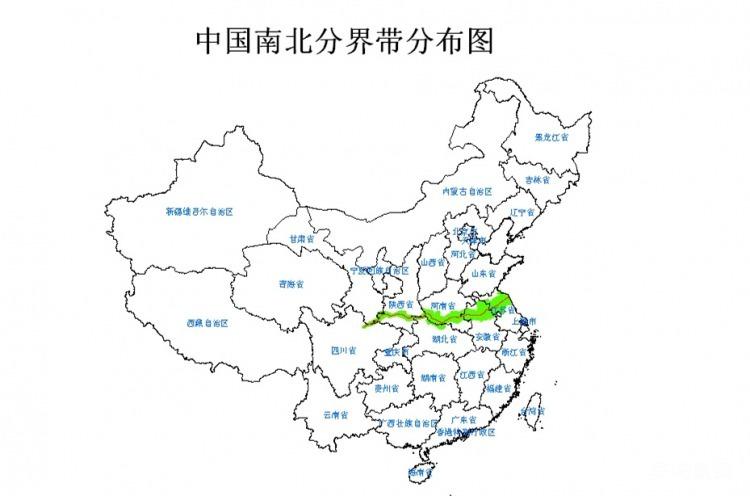 中国南北分界带分布图